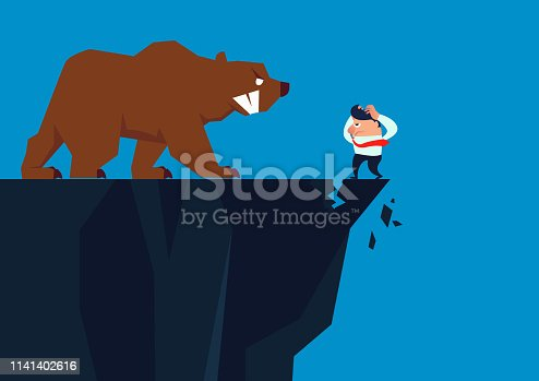 istock Desperate, the businessman was forced to the edge of the cliff by a huge bear. 1141402616