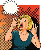 Illustration of a young retro stile woman screaming.  All images placed on separate layers for easy editing. High resolution JPG and Illustrator 8 included.