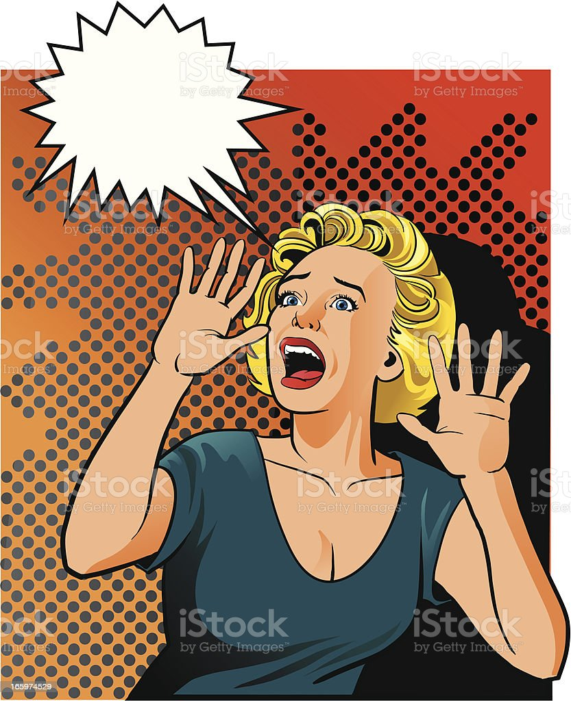 Desperate Vintage Woman Screaming vector art illustration