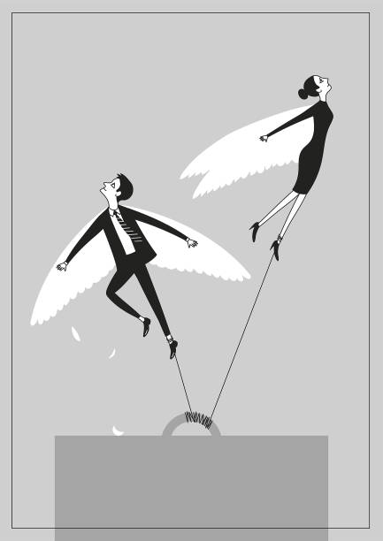 Desperate winged workers dreaming to break free and fly away poster vector art illustration