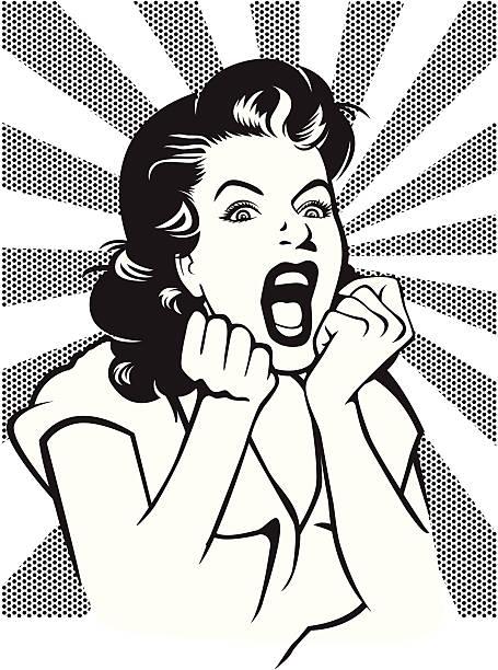Desperate woman screaming retro style illustration vector art illustration