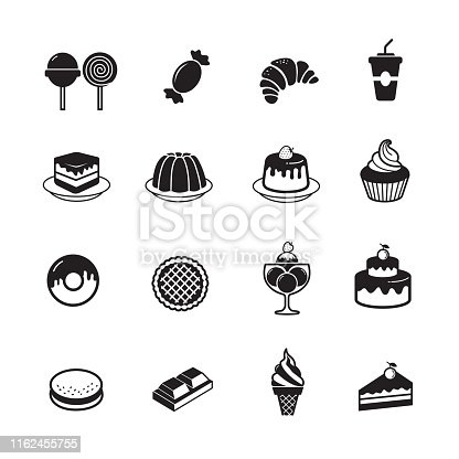 Dessert and sweet bakery icon, set of 16 editable filled, Simple clearly defined shapes in one color.