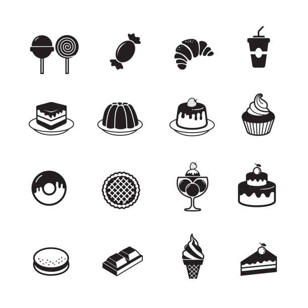Dessert and sweet bakery icon Dessert and sweet bakery icon, set of 16 editable filled, Simple clearly defined shapes in one color. pudding stock illustrations