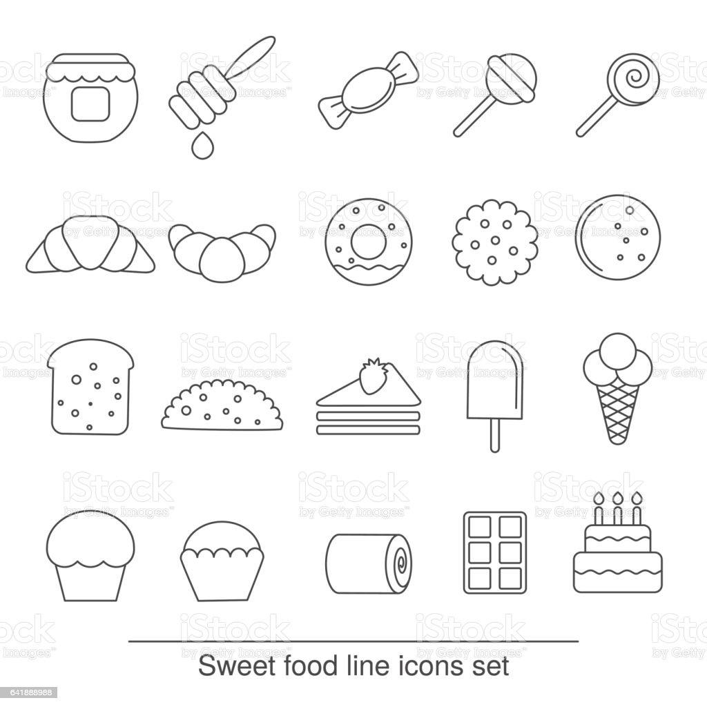 dessert and sweet icon set vector art illustration