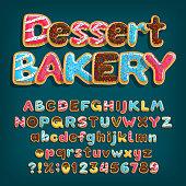 Dessert Bakery alphabet font. Uppercase and lowercase dessert letters.