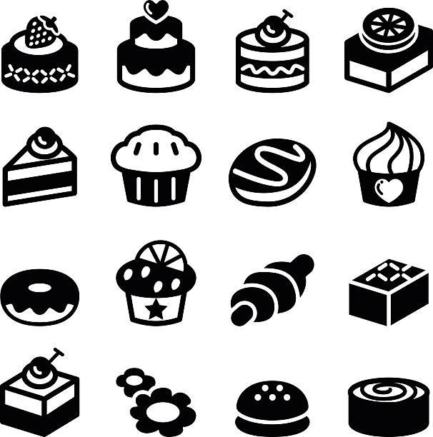 bildbanksillustrationer, clip art samt tecknat material och ikoner med dessert & bakery icon set - brownie