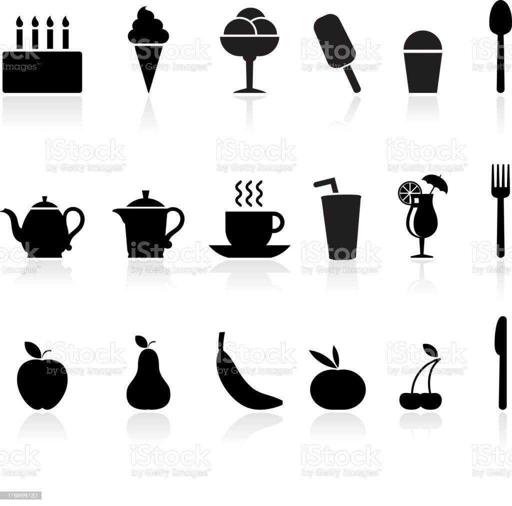 dessert black and white royalty free vector icon set vector art illustration