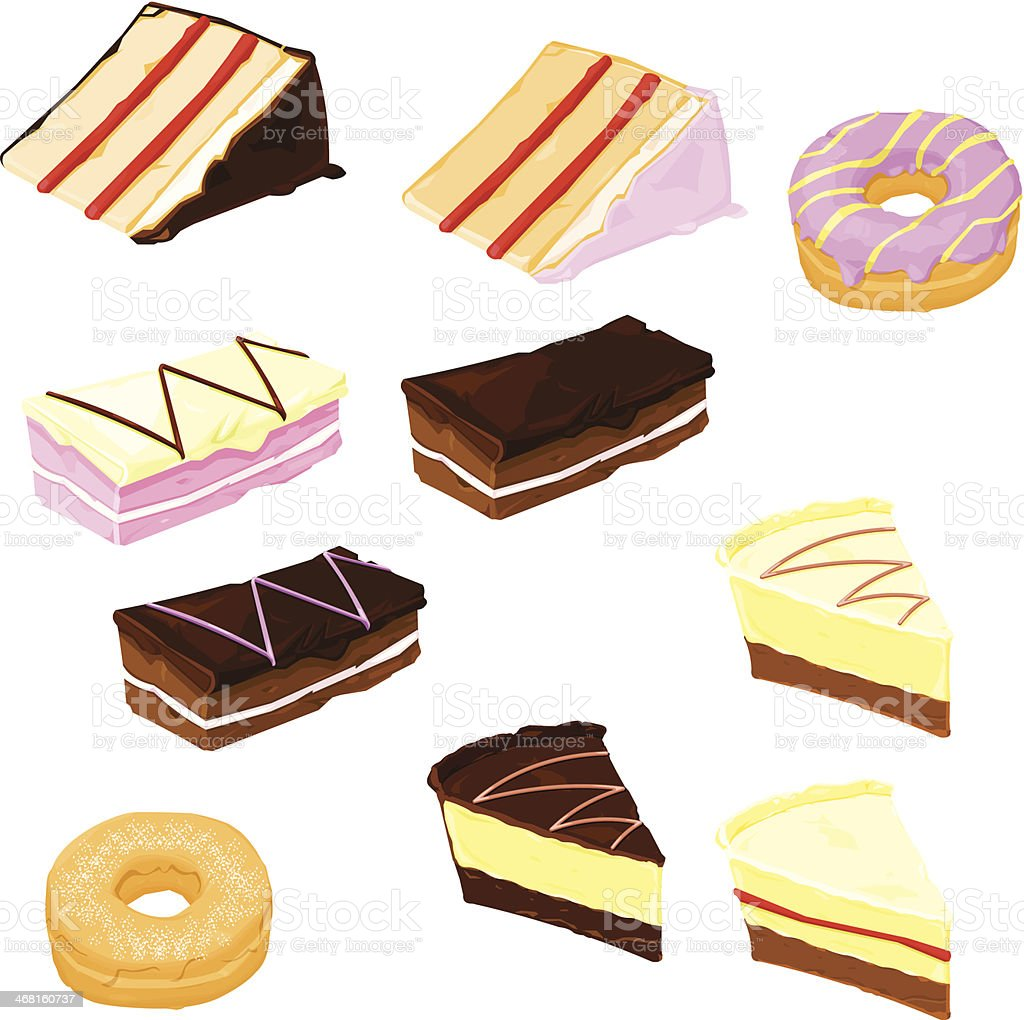 Dessert Cakes, Donuts and Biscuits vector art illustration