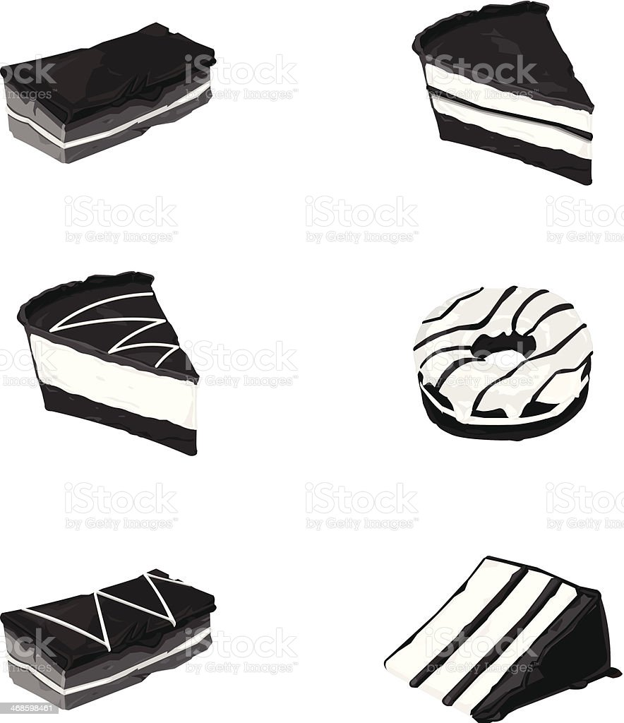 Dessert Cakes vector art illustration