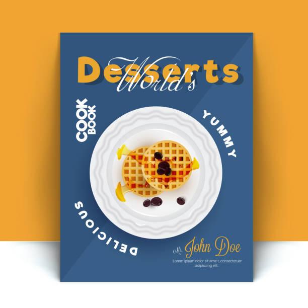 Postre cocinero receta libro cubierta diseño o con el postre de tarta de manzana. - ilustración de arte vectorial