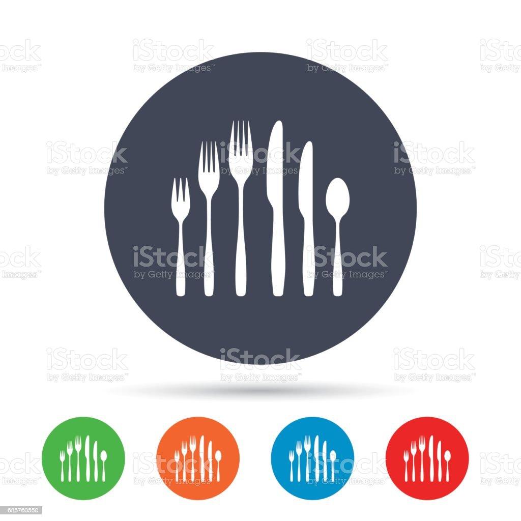 Dessert fork, knife, teaspoon. Cutlery set. dessert fork knife teaspoon cutlery set - immagini vettoriali stock e altre immagini di applicazione mobile royalty-free