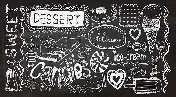 Dessert hand skecth collection Dessert hand skecth collection in black and white candy drawings stock illustrations