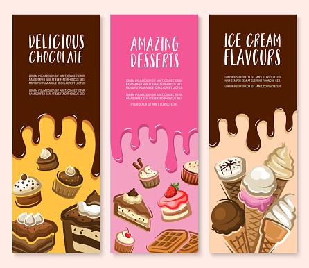 Dessert, ice cream and chocolate pastry banner set