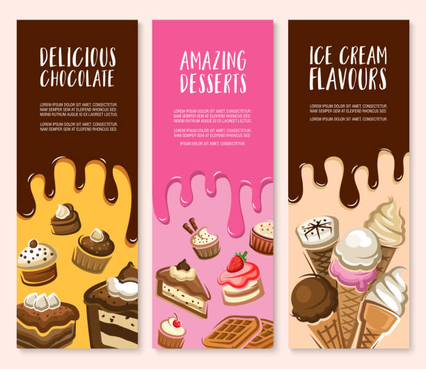 Dessert, ice cream and chocolate pastry banner set vector art illustration