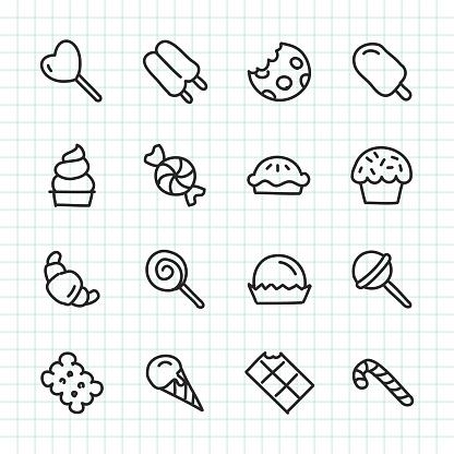 Dessert Icon Hand Drawn Series Stock Illustration - Download Image Now