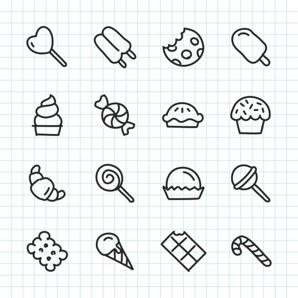 Dessert Icon - Hand Drawn Series Dessert Icon Hand Drawn Series Vector EPS File. candy icons stock illustrations