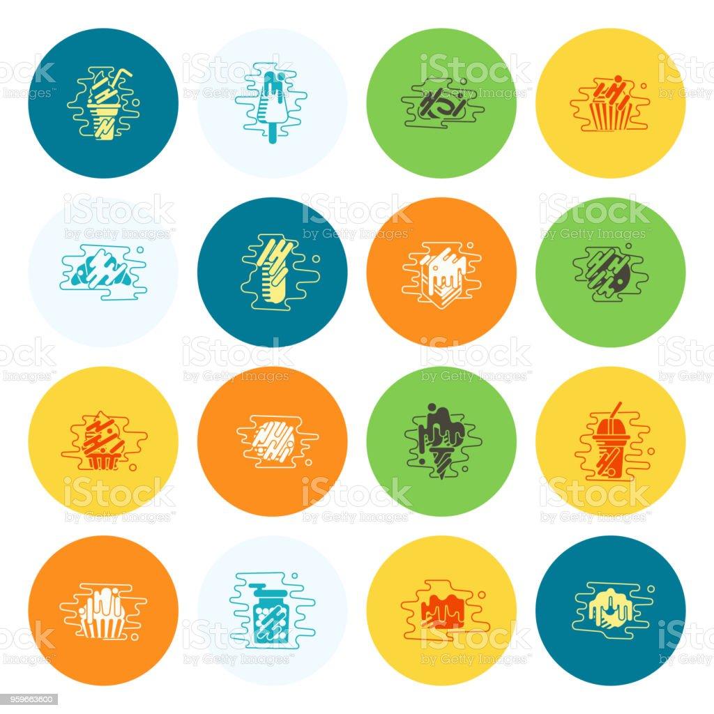 Conjunto de iconos de postre estilo moderno diseño plano - arte vectorial de Alimento libre de derechos