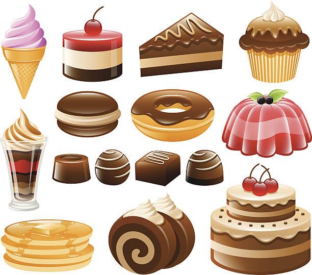 dessert-icon-set, süßigkeiten, süßwaren - wackelpuddingkekse stock-grafiken, -clipart, -cartoons und -symbole