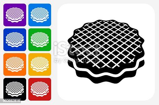Dessert Icon Square Button Set