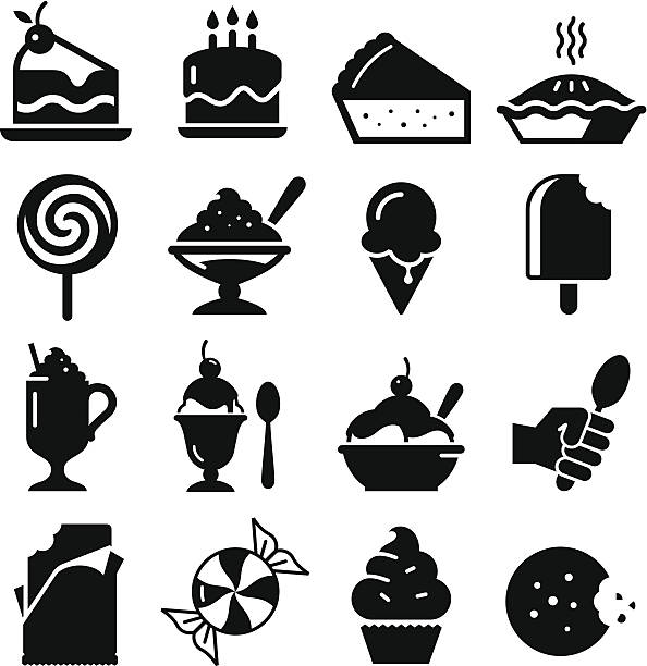 deser ikony, czarny seria — - ciasto stock illustrations