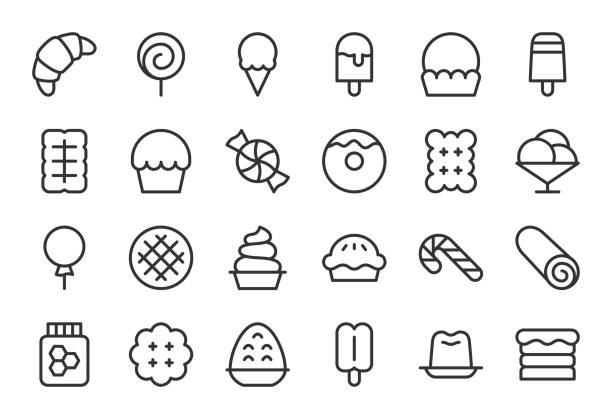 dessert-icons - light line serie - vanillesauce stock-grafiken, -clipart, -cartoons und -symbole