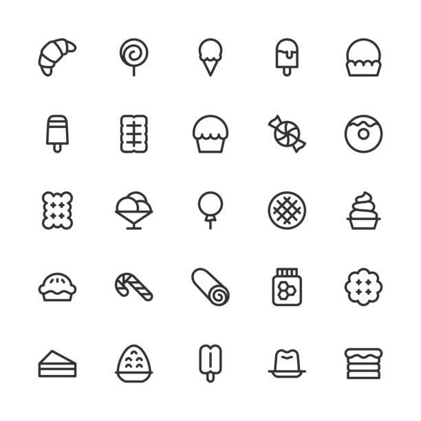 dessert-icons - line serie - vanillesauce stock-grafiken, -clipart, -cartoons und -symbole