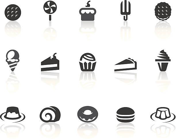 dessert-icons/einfache schwarz-serie - wackelpuddingkekse stock-grafiken, -clipart, -cartoons und -symbole