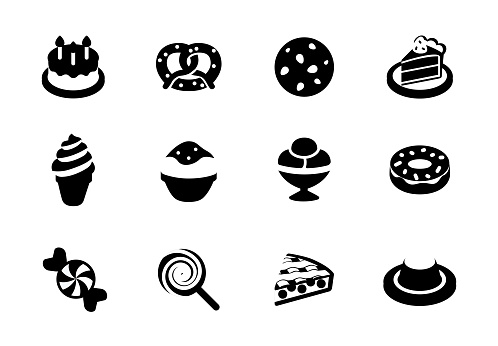 Dessert icons vector illustrations set. Birthday cake, pastry items, ice cream, candy isolated symbols collection