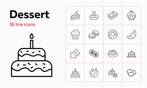 dessert-linie-symbol. satz von liniensymbolen auf weißem hintergrund - portion stock-grafiken, -clipart, -cartoons und -symbole