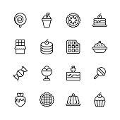 16 Dessert Outline Icons.