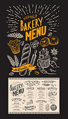 Dessert menu for restaurant. Bakery template with food hand-drawn graphic illustrations. Vector flyer for bar and cafe.