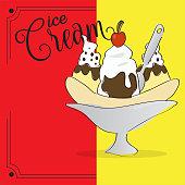 Banana split. Ice cream. Dessert menu - Vector illustration