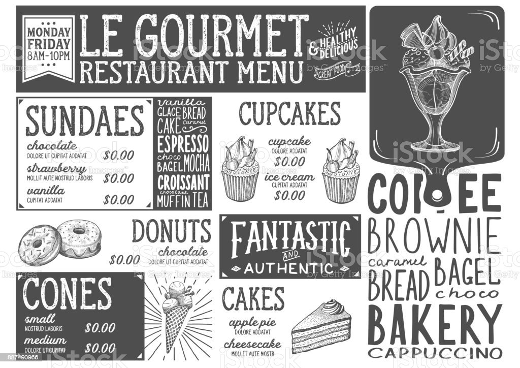 Restaurant dessert menu modèle alimentaire. - Illustration vectorielle