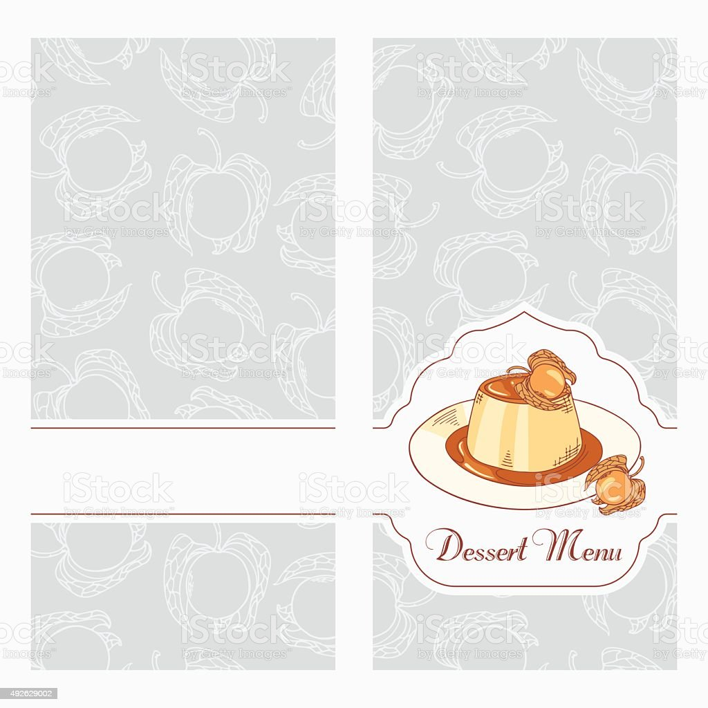 dessert menu template design for cafe creme caramel stock vector art