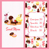 Colorful vector dessert menu template for restaurants with a framed price list surrounded by ice cream  candy  sweets  pastries and desserts on one half and the text Sweet Menu on the other