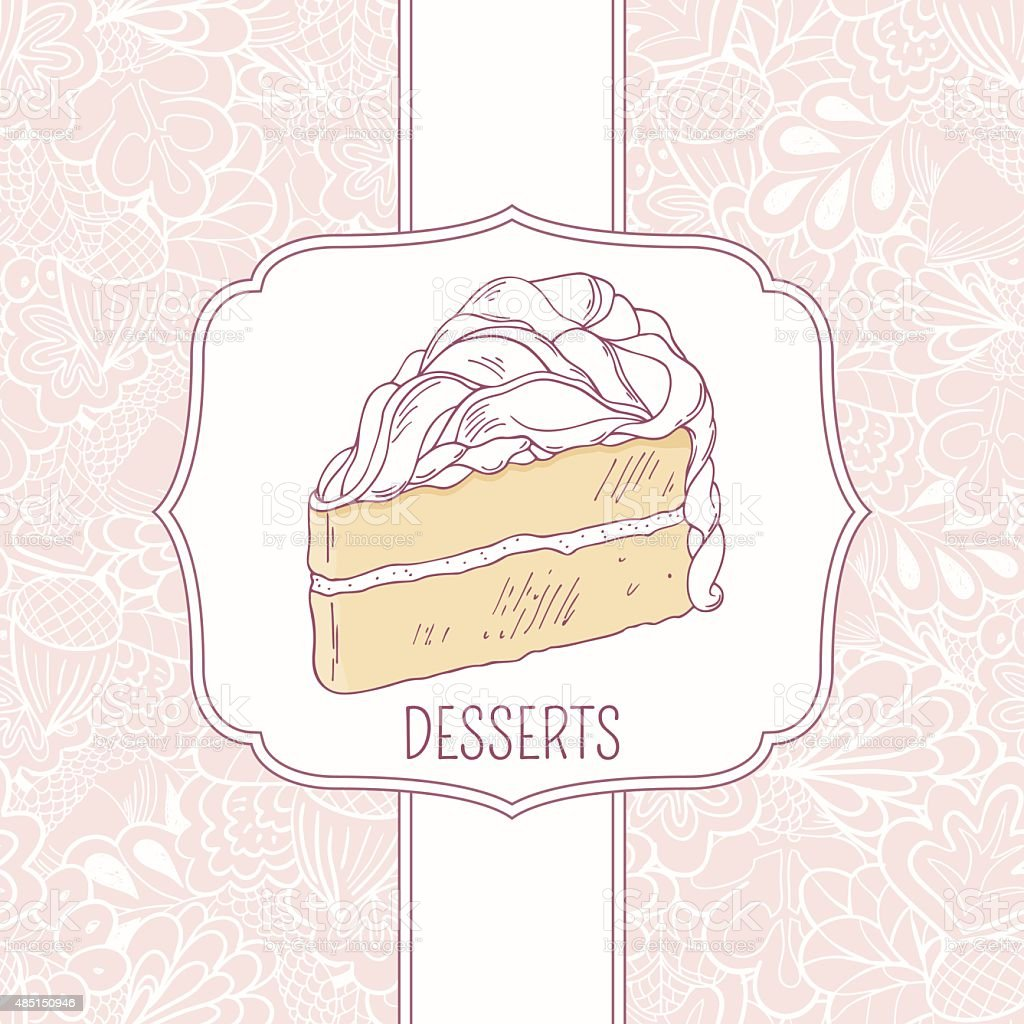 dessert menu template with sweet cake and doodle pattern stock