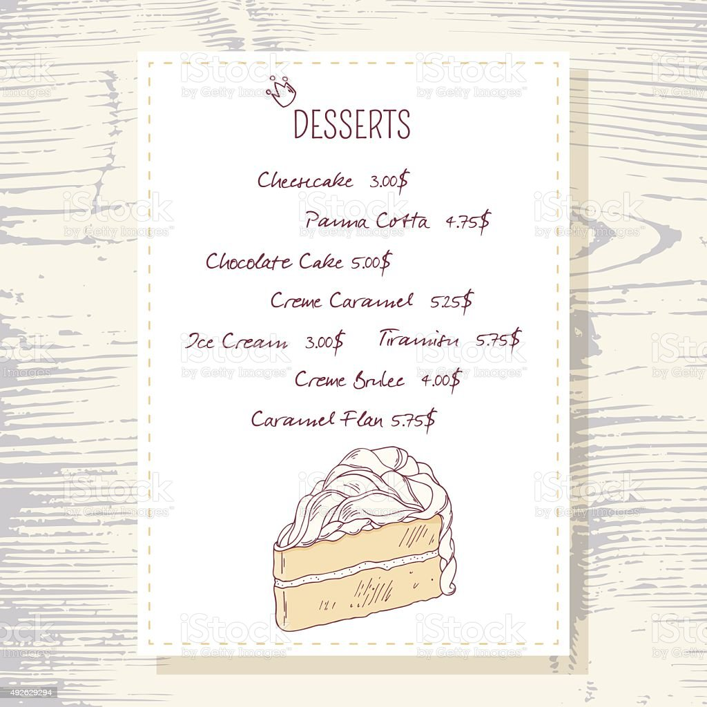 dessert menu template with sweet vanilla cake stock vector art