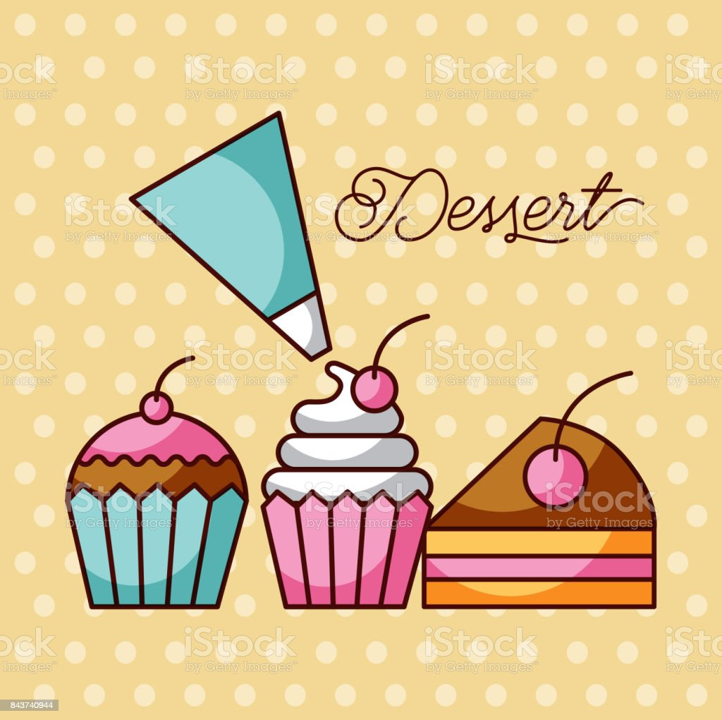 dessert sweet cupcakes and slice cake berry with icing cream bag vector art illustration