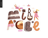 Dessert lettering - Miracle - modern flat vector concept digital illustration of temptation font, sweet lettering and girls. Caramel, toffee, biscuit, waffle, cookie, cream and chocolate letters