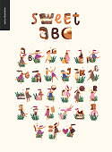 Dessert font ABC- modern flat vector concept digital illustration of temptation font, sweet lettering and girls. Caramel, toffee, biscuit, waffle, cookie, cream and chocolate letters