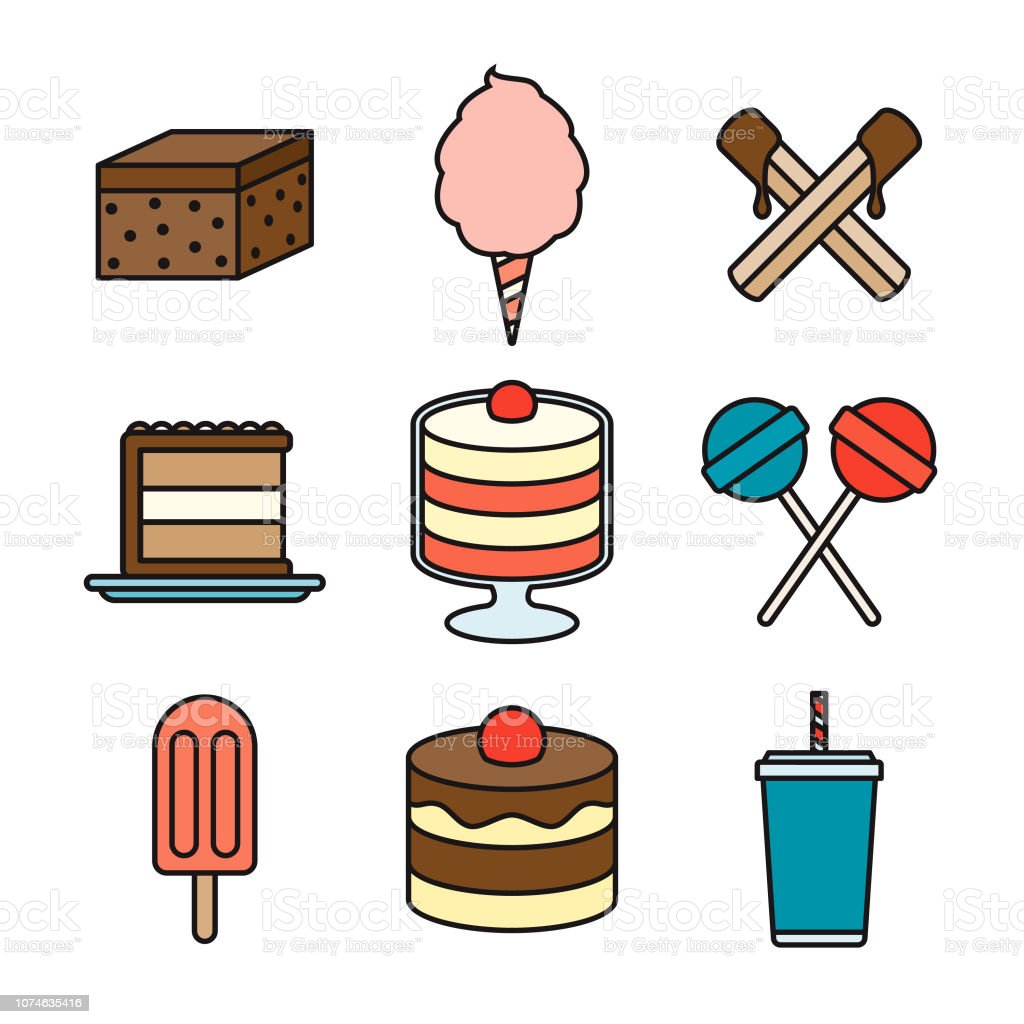 Dessert Thin Line Icon Set vector art illustration