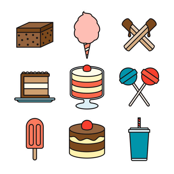 Dessert Thin Line Icon Set vector art illustration