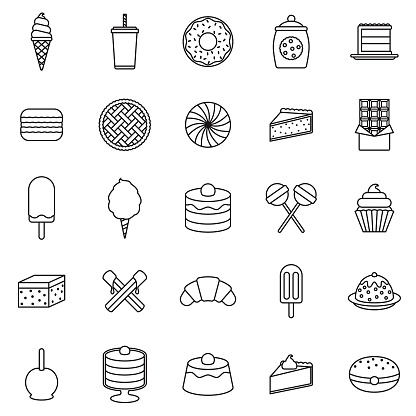 Dessert Thin Line Outline Icon Set