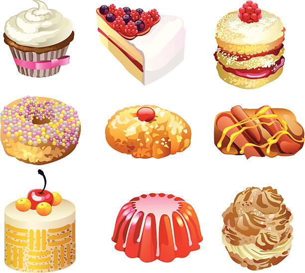 dessert - wackelpuddingkekse stock-grafiken, -clipart, -cartoons und -symbole