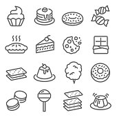 Dessert Vector Line Icon Set. Contains such Icons as Cupcake, Donut, Macaron, Pudding and more. Expanded Stroke