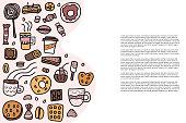 Dessert vector set elements in doodle style.