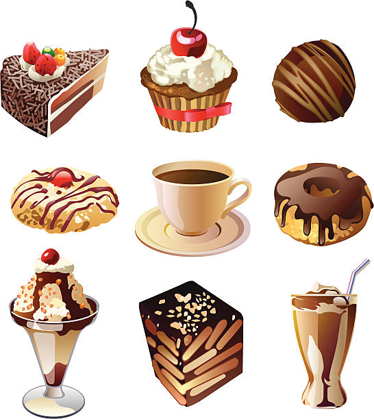 Dessert2 Sweet food for tea time bread clipart stock illustrations