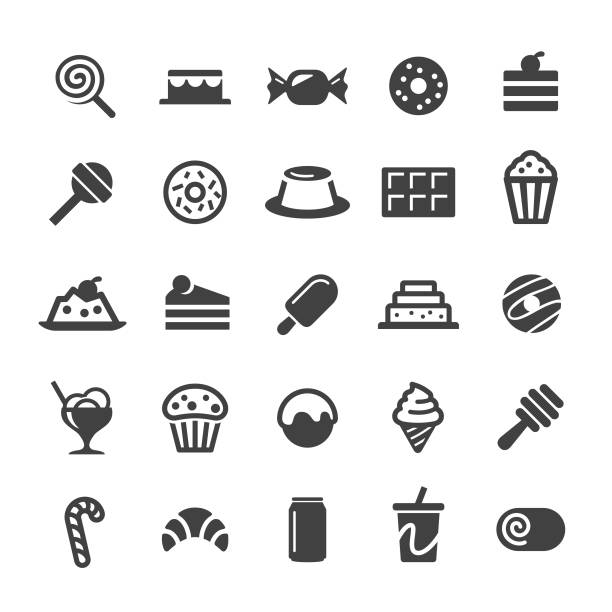 Desserts and Sweet Food Icons - Smart Series Desserts, Sweet Food, cake, chocolate, donut, ice cream, pudding stock illustrations
