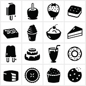 Dessert/sweets icons. The white shapes and strokes are cut from the illustrations.