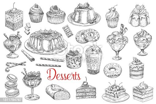 istock Desserts and sweets, pastry cakes, biscuits sketch 1311794767